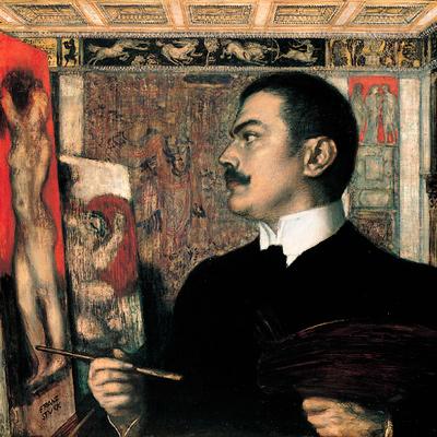 Franz von Stuck in seinem Atelier, Selbstbildnis, 1905